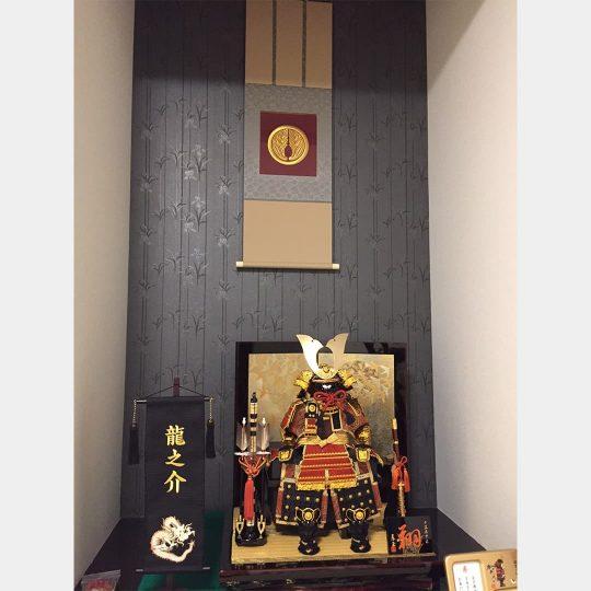 大阪府 雅掛け軸額 家紋刺繍